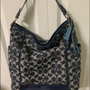 Coach Denim Blue Signature Hobo